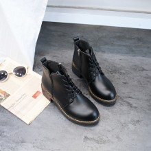 Women Korean Trend Retro Thick Heeled Casual Leather Martin Boots