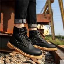 Men's Korean Youth Trend Wild High Top Leather Snow Military Boots