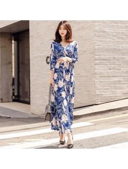 Women New Fashion Retro Small Daisy Wrap Skirt Slim Dress