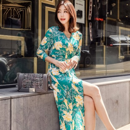 Women New Fashion Retro Small Daisy Wrap Skirt Slim Dress
