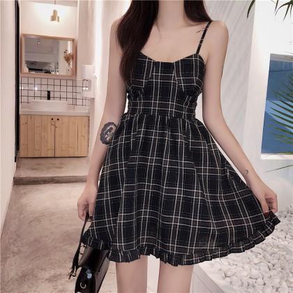 Women Korean Fashion Sexy Strap SLim Chic Plaid Dress