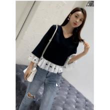 Women Korean Fashion Wild Trumpet Sleeve Chiffon Shirt