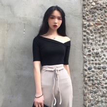 Women  New Thin  Oblique V Neckline Short Sleeve Base T Shirt