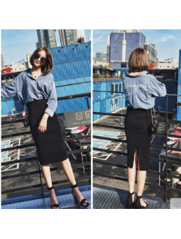 Women Korean Fashion High Waist Splitting Slim Hip Skirt