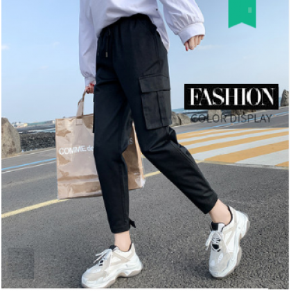 Women French Loose Cotton Casual Overalls Regular Pants