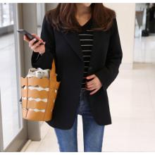 Women Korean Fashion Black Suit  Slim Thin Long Sleeved Short Coat