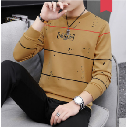 Men New Trend Youth Round Neck Thin long Sleeved Sweater