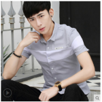 Men Korean Fashion Short Sleeved Casual Slim Youth Shirt