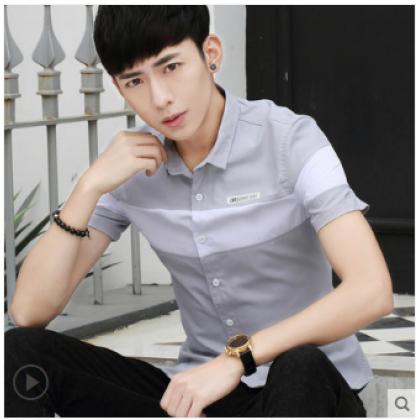 Men Korean Fashion Short Sleeved Casual Slim Youth Shirt