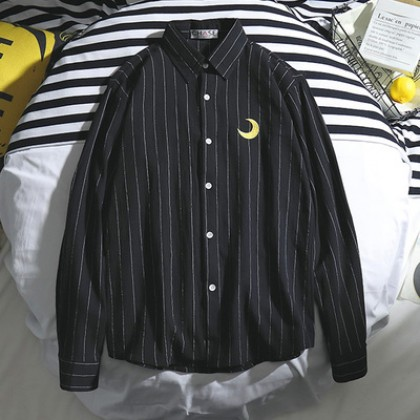 Men Korean Fashion Striped Long Sleeve Embroidery Print Loose Shirt