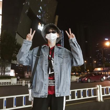 Men Korean Trend Harajuku Style Loose Denim Jacket