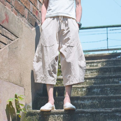 Men New Summer Trend Linen Casual Cropped Trousers