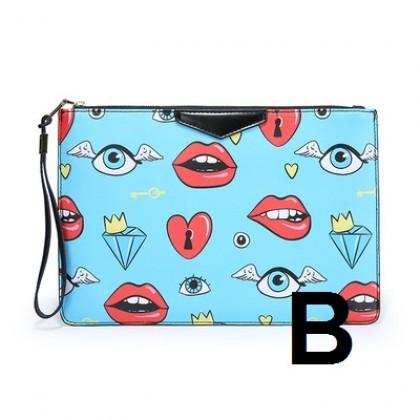 Women Korean Trend Street Style Printed Envelope Handbag