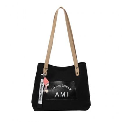 Women Korean Trend Large Capacity Canvas Shoulder Bag