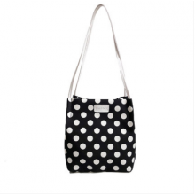 Women Korean Trend Large Capacity Polka Dots Bucket Style Shoulder Bag