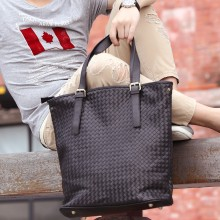 Men Korean Fashion Real Woven Trendy Casual Soft Leather Shoulder Bag
