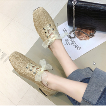 Women Korean Trend Retro Fairy Flat Square Head Lace Up Casual Shoes