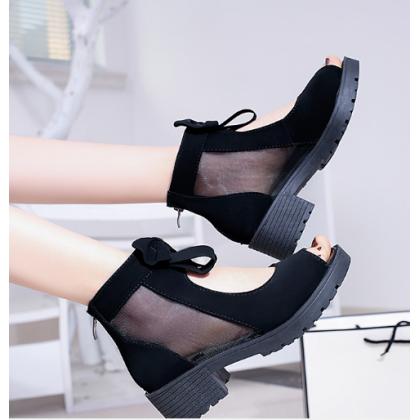 Women Korean Fashion Wild Zipper Thick Heel Fish Mouth Casual Sandals