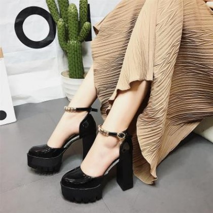 Women New Thick High Heels Shallow Mouth Buckle Round Head Fashion Shoes