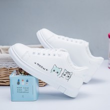 Women Korean Fashion Wild Style Cat Design Lace Up Flat Sneakers
