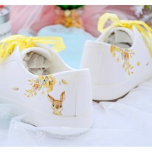 Women Harajuku Style White Canvas Colored Lace Flat Sneakers