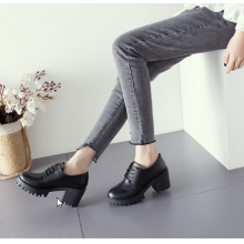 Women Fashion Lace Up Thick High Heeled Low Cut Leather Boots
