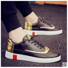 Men Korean Fashion  Gold Lining Casual Lace Up Sneakers