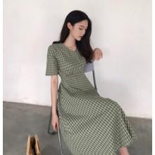 Women Korean Fashion Retro V-Neck Long Skirt Green Dress