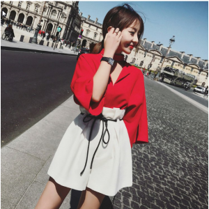 Women New Summer Color Matching Two Piece Set Dress Plus Size