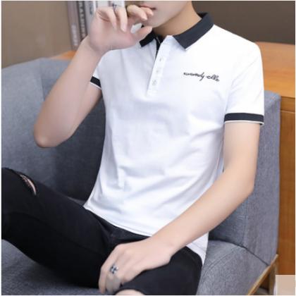 Men Korean Fashion Short Sleeved Trendy Collar Cotton Polo Shirt