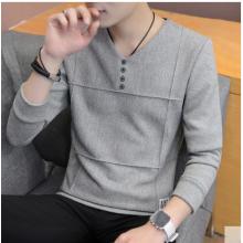 Men Korean Fashion  Slim Long Sleeved T Shirt Jacket Casual Sweater Style
