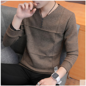 Men Korean Fashion  Slim Long Sleeved T Shirt Jacket Casual Sweater Style