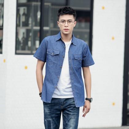 Men Summer Fashion  Short Sleeved Denim Loose Cotton Shirt