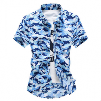 Men Korean  Youth Trend Slim Fit Camouflage Half Sleeved Summer Shirt