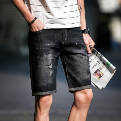 Men Korean Trend Retro Loose Straight  Tattered Holes Denim Shorts