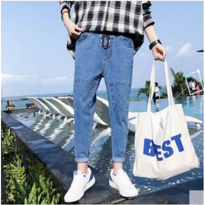 Men Korean Fashion Wild Style Loose Straight Casual Harlan Denim Pants