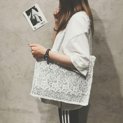 Women Korean Fashion Embroidery Big White Shoulder Tote Bag