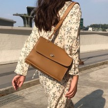 Women Korean Fashion Simple Retro Casual Leather Shoulder Bag