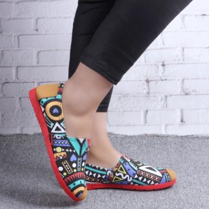 Women New Graffiti Casual Canvas Cloth Flat Shoes