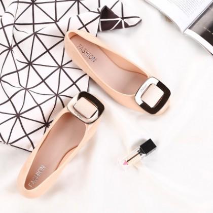 Women Korean Fashion  Square Head Non Slip Plastic Flat Casual Shoes