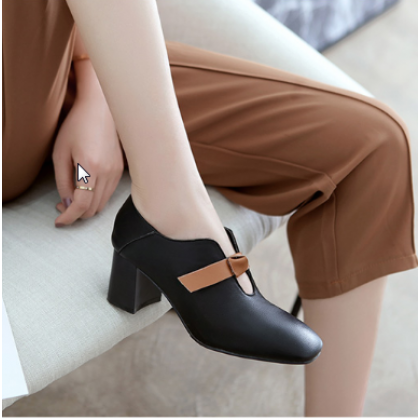 Women Square Head British Style Lazy High Heel Shoes