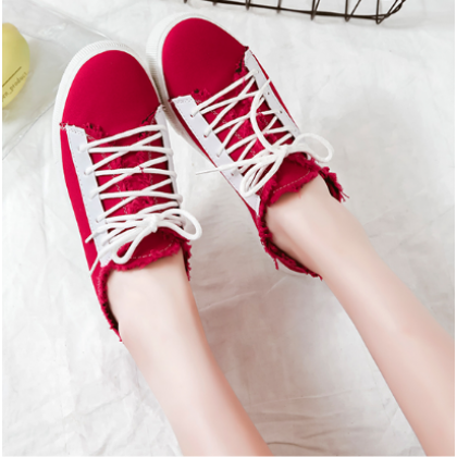 Women Korean Fashion  Hal Slippers Wild Lace Up Canvas Sneakers