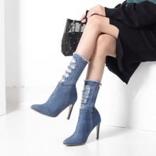 Women High Heel Fashion Princess Cowboy Pointed Martin Boots Stiletto
