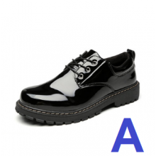 Men Korean Fashion  Wild Casual Round Head Leather Black Shoes