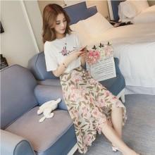Women  French Style Fairy Chiffon Two Piece Set Printed Skirt Dress