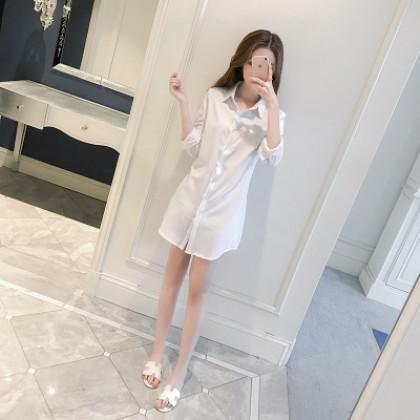 Women  Korean Fashion Long Sleeve Chiffon Loose Paragraph Shirt