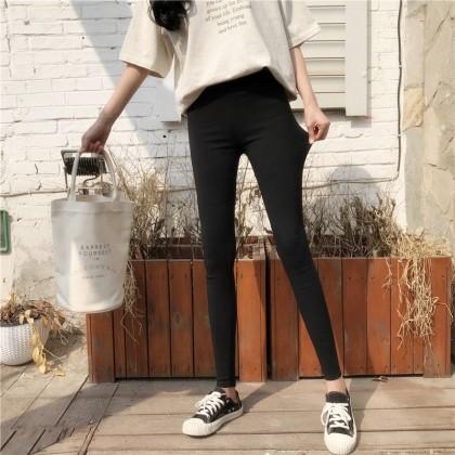 Women Black HIgh Waist Stretch Tights Fashionable Pants