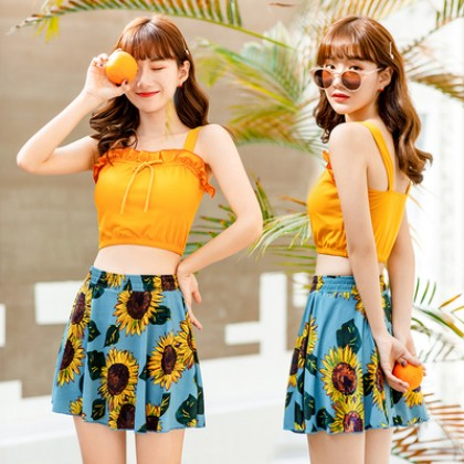 Women Korean Fashion Two Piece Slim Super Fairy Skirt Type Swimwear