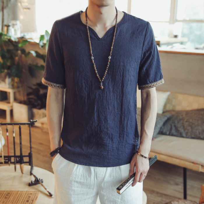 Men Korean Fashion Linen Loose Short Sleeved Casual Summer T Shirt
