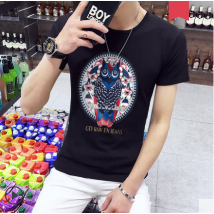Men  Youth Style Summer Cartoon Printl Short Sleeved Loose T Shirt